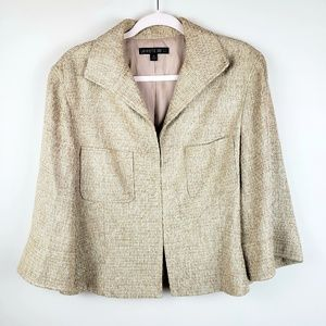 Lafayette 148 // Tweed Blazer Jacket Tan Size 14